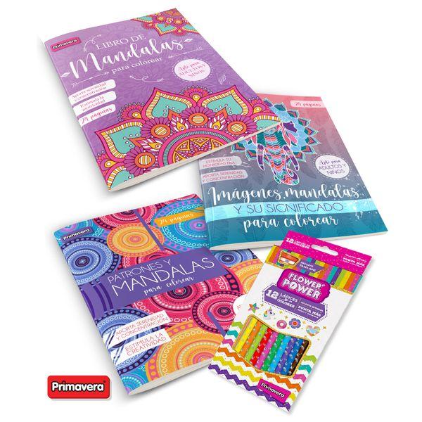 set-libros-actividades-mandalas-colores-primavera