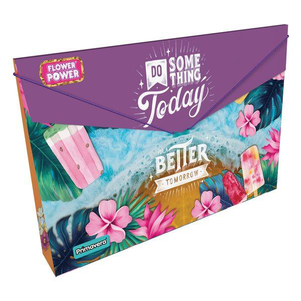 Carpeta-Plastica-Fuelle-Flower-Power-Morado-Primavera