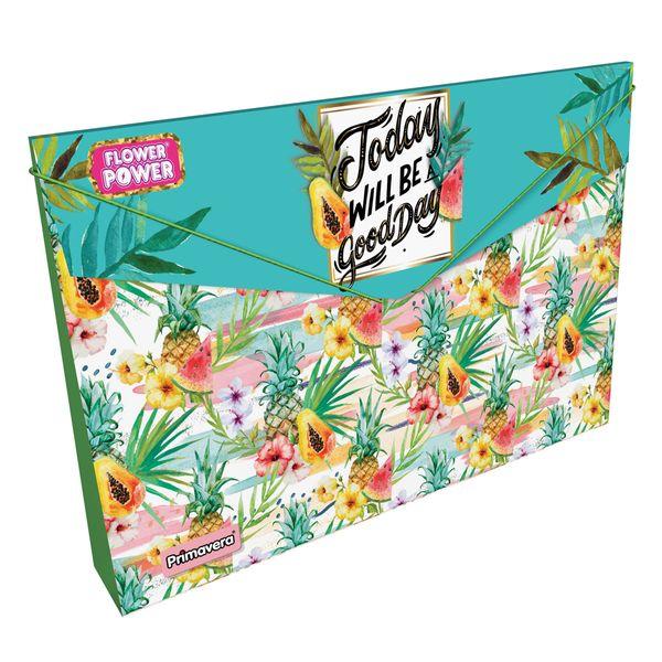 Carpeta-Plastica-Fuelle-Flower-Power-Verde-Claro-Primavera