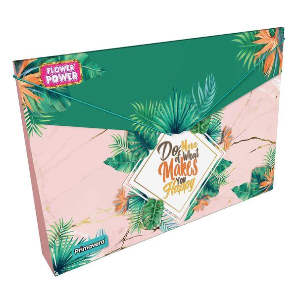 Carpeta-Plastica-Fuelle-Flower-Power-Verde-y-Rosado-Primavera