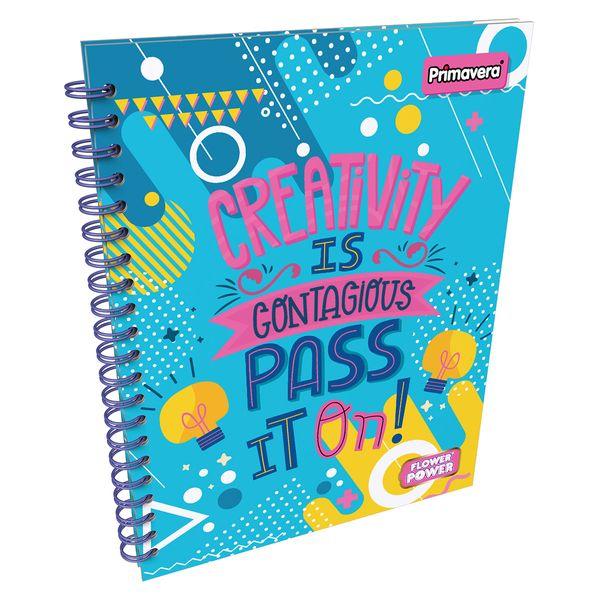 Cuaderno-Argollado-Pasta-Dura-Grande-Flower-Power-Azul-Claro-